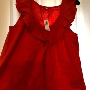 Old Navy Tops - NWT size M red ruffle button up